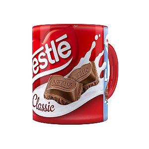 Caneca Porcelana Chocolate Nestle Classic ao Leite Vermelha