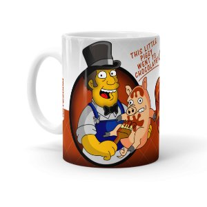Caneca Porcelana Chocolate Os Simpsons Farmer Billys Branca