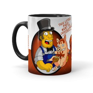 Caneca Porcelana Chocolate Os Simpsons Farmer Billys Preta