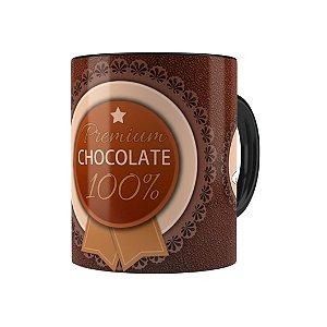 Caneca Porcelana Chocolate Premium Chocolate 100% Preta
