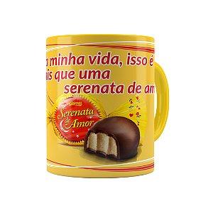 Caneca Porcelana Chocolate Serenata de Amor 01 Amarela