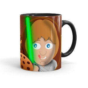 Caneca Chocolate Star Wars Cookie Skywalker Preta