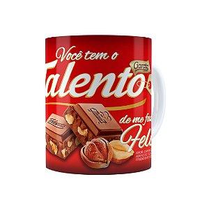 Caneca Chocolate Talento Barra Mensagem 01 Branca
