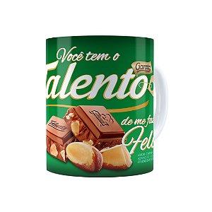 Caneca Chocolate Talento Barra Mensagem 02 Branca