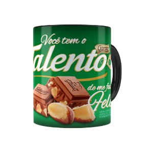 Caneca Chocolate Talento Barra Mensagem 02 Preta