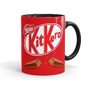 Caneca Porcelana Chocolate KitKero Preta