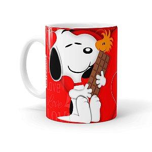 Caneca Porcelana Chocolate Snoopy Love Branca