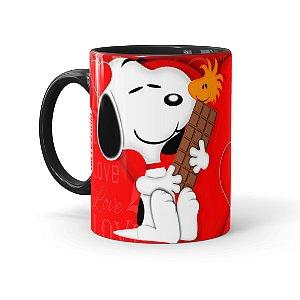 Caneca Porcelana Chocolate Snoopy Love Preta