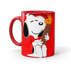 Caneca Porcelana Chocolate Snoopy Love Vermelha