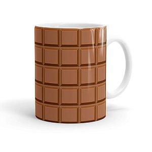 Caneca Porcelana Barra de Chocolate ao Leite Branca