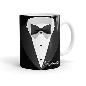 Caneca Porcelana Casamento Padrinho 02 Branca