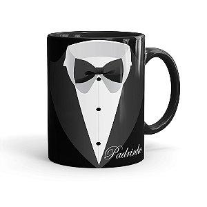 Caneca Porcelana Casamento Padrinho 02 Preta