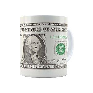 Caneca Porcelana Um Dólar (One Dollar) Branca