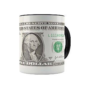 Caneca Porcelana Um Dólar (One Dollar) Preta