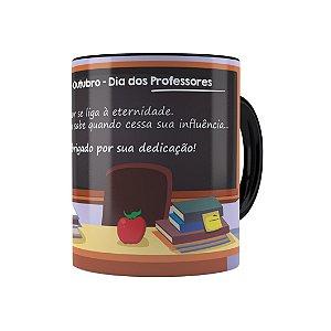 Caneca Dia dos Professores Obrigado Pela Dedicação Preta