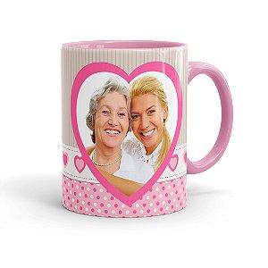 Caneca Personalizada Dia das Mães com Foto Rosa