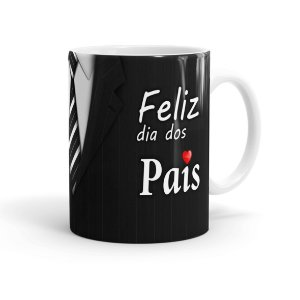 Caneca Personalizada Feliz Dia dos Pais com Foto Branca