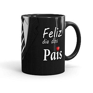 Caneca Personalizada Feliz Dia dos Pais com Foto Preta