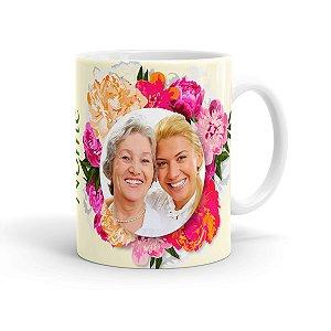 Caneca Personalizada Mãe Floral com Foto Branca