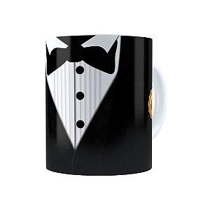 Caneca Porcelana Black Tie Melhor Pai do Ano Branca