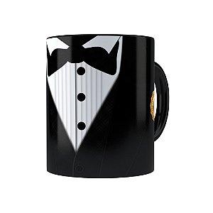 Caneca Porcelana Black Tie Melhor Pai do Ano Preta