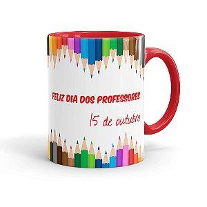Caneca Porcelana Dia dos Professores 15 Outubro Vermelha