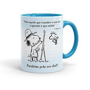 Caneca Porcelana Dia dos Professores Snoopy Azul Claro