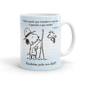 Caneca Porcelana Dia dos Professores Snoopy Branca