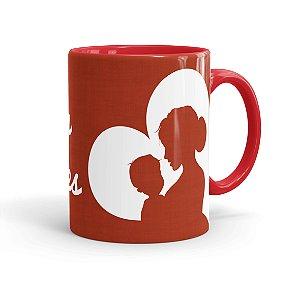 Caneca Porcelana Feliz dia das Mães 01 Vermelha