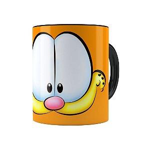 Caneca Porcelana Garfield 01 Preta