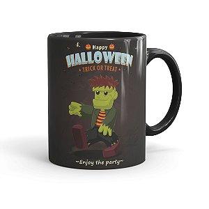 Caneca Porcelana Halloween Dia das Bruxas 01 Preta