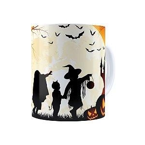 Caneca Porcelana Halloween Dia das Bruxas 03 Branca