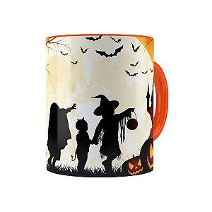 Caneca Porcelana Halloween Dia das Bruxas 03 Laranja
