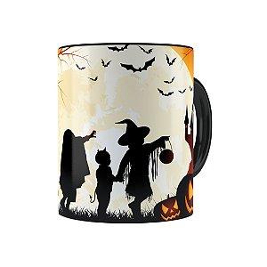 Caneca Porcelana Halloween Dia das Bruxas 03 Preta