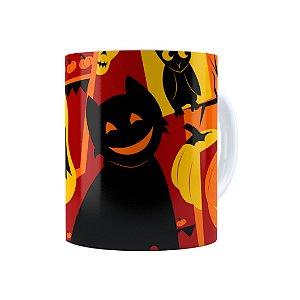 Caneca Porcelana Halloween Dia das Bruxas 04 Branca