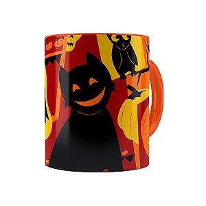 Caneca Porcelana Halloween Dia das Bruxas 04 Laranja