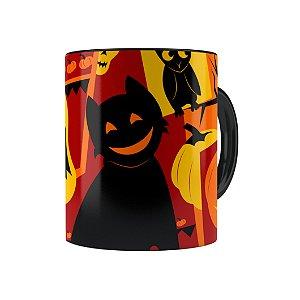 Caneca Porcelana Halloween Dia das Bruxas 04 Preta