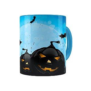 Caneca Porcelana Halloween Dia das Bruxas 05 Azul Claro