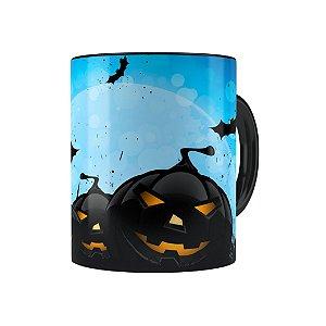Caneca Porcelana Halloween Dia das Bruxas 05 Preta