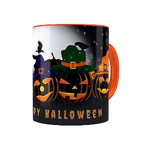 Caneca Porcelana Halloween Dia das Bruxas 06 Laranja