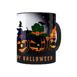 Caneca Porcelana Halloween Dia das Bruxas 06 Preta
