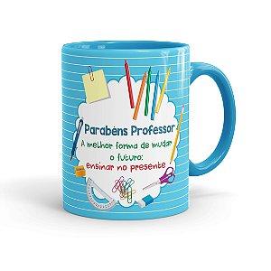 Caneca Porcelana Parabéns Professor Melhor Forma Azul claro