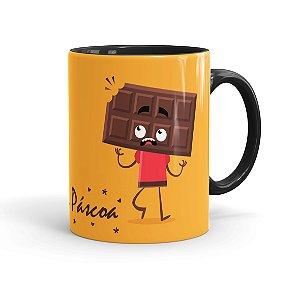 Caneca Porcelana Páscoa Cara de Chocolate 01 Preta