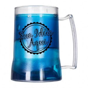 Caneca Gel Personalizada para Chopp Azul 450ml
