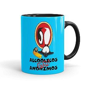 Caneca Porcelana Alcoólicos Não Anônimos Preta
