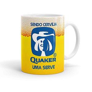 Caneca Porcelana Sendo Cerveja Quaker Uma Serve Branca