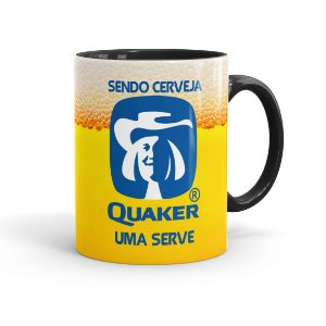 Caneca Porcelana Sendo Cerveja Quaker Uma Serve Preta