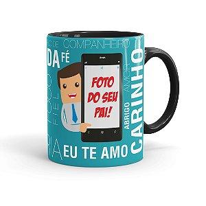 Caneca Personalizada com Foto Pai no Celular Preta