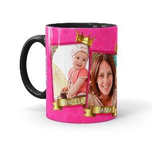 Caneca Personalizada Mãe Rainha e Princesa com Foto Preta