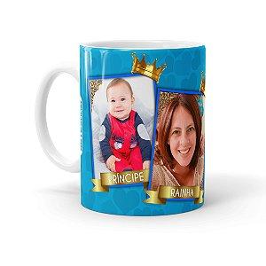 Caneca Personalizada Mãe Rainha e Príncipe com Foto Branca